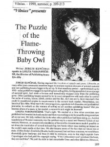 The Puzzle of the Flame-Throwing Baby Owl